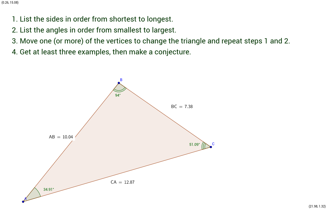 Side Lengths and Angle Measures in a Triangle