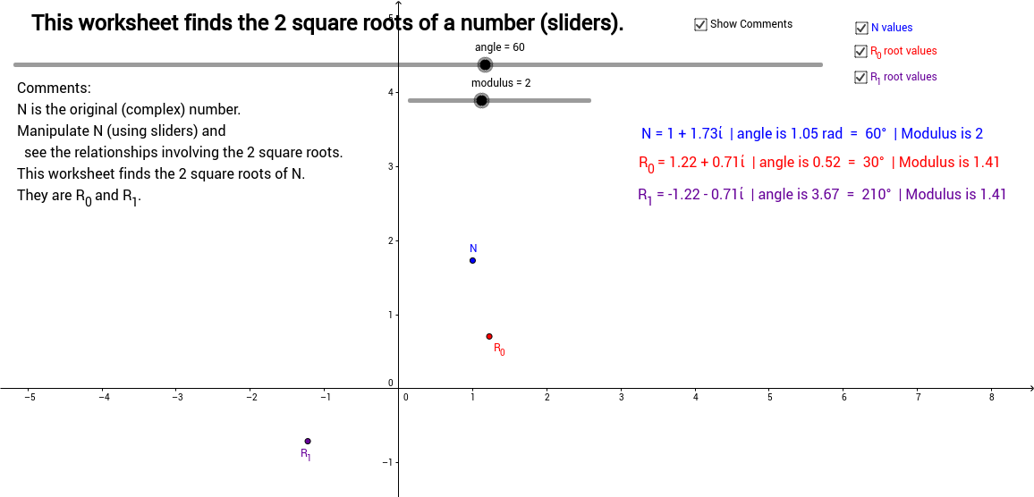 Square Roots of a Complex Number - With Sliders