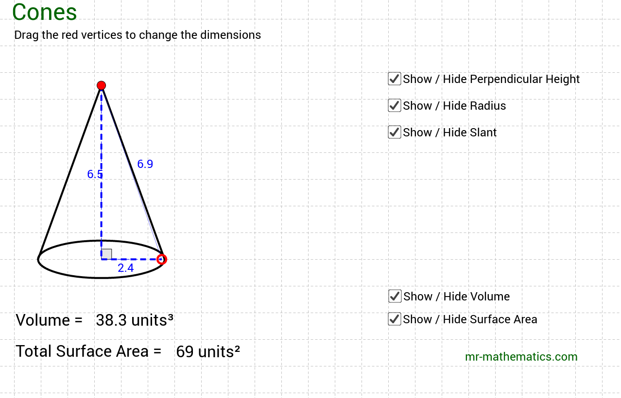 Volume and Surface Area of a Cone GeoGebra – Volume of Cone Worksheet