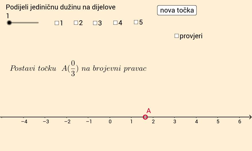 Razlomci na brojevnom pravcu - pogodi točku