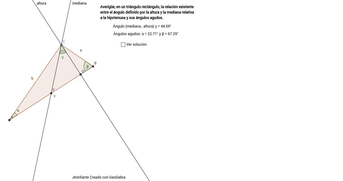 Ángulo entre altura y mediana en triángulo rectángulo