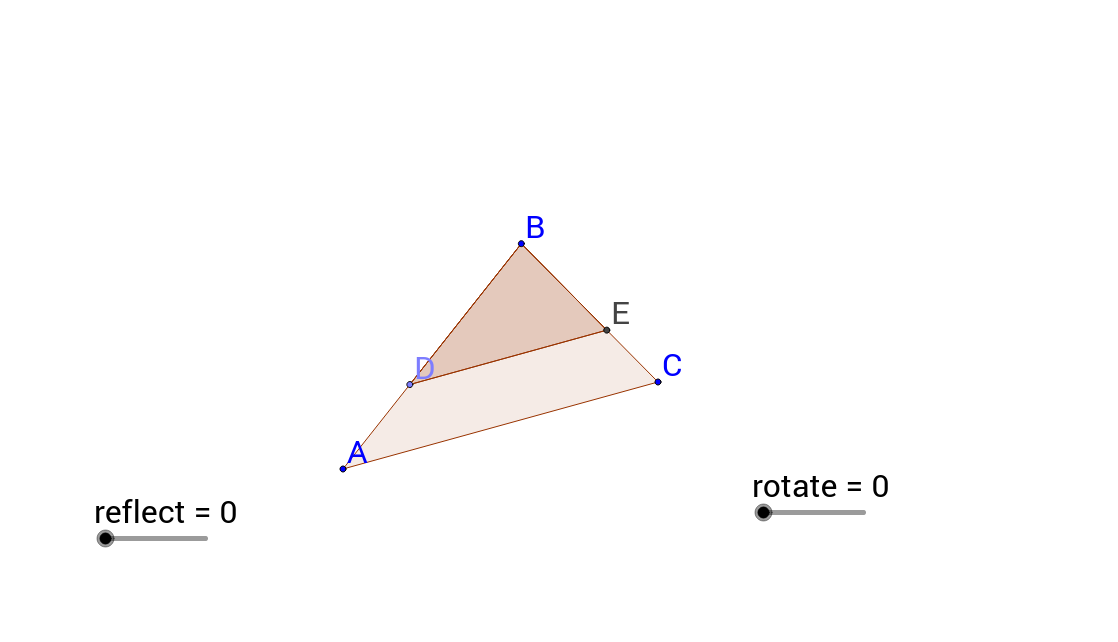 Similar Triangles transformed using Reflection and Rotation