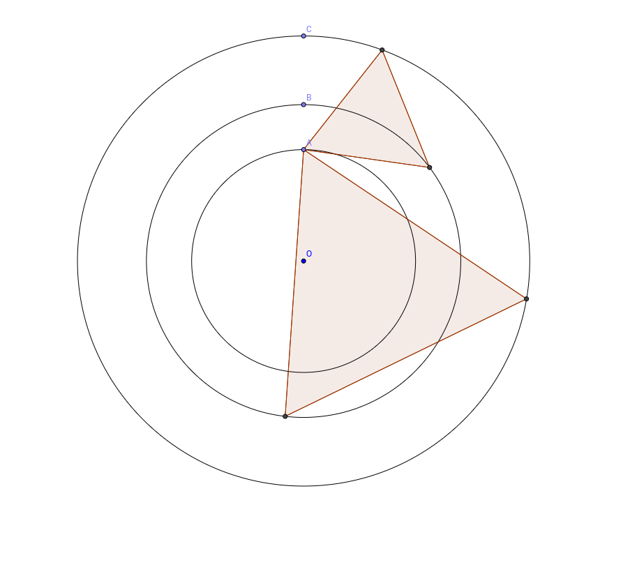 3 concentric circles and equilateral triangle.