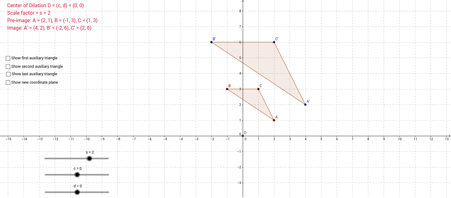How to Dilate given any center GeoGebra – Dilation Worksheet