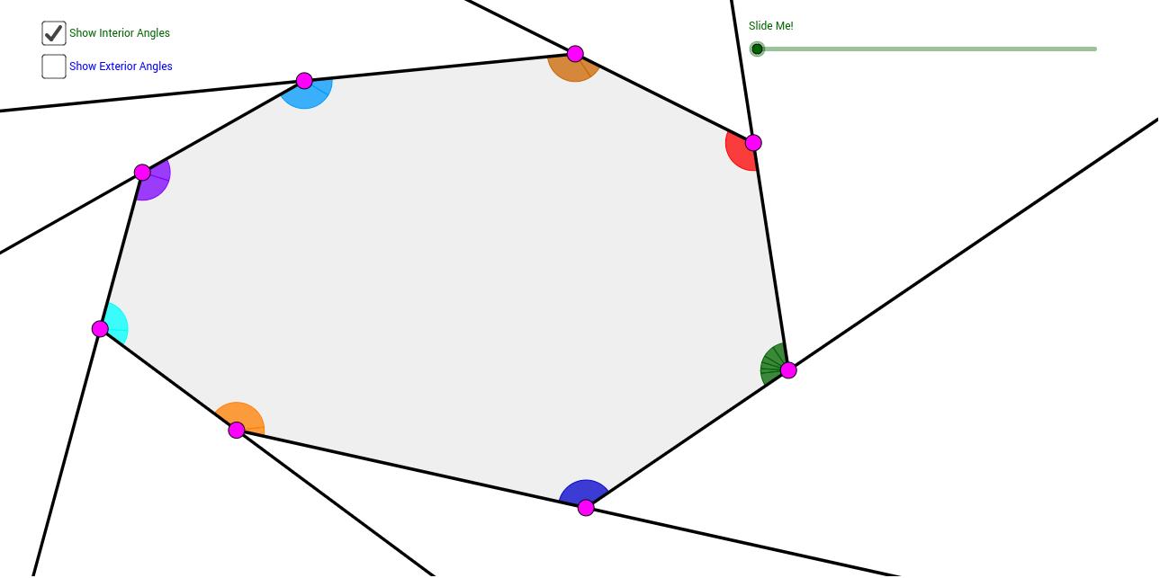 Octagon Interior Exterior Angle Sum Theorems Geogebra