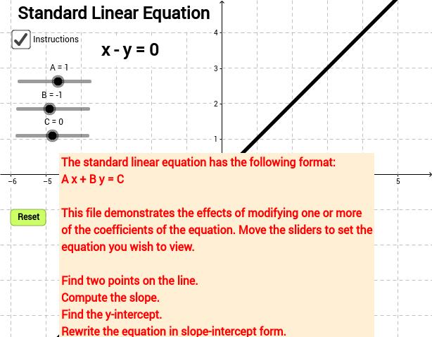 Linear Lesson Geogebra