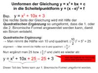 Gleichung in Scheitelpunktform umformen
