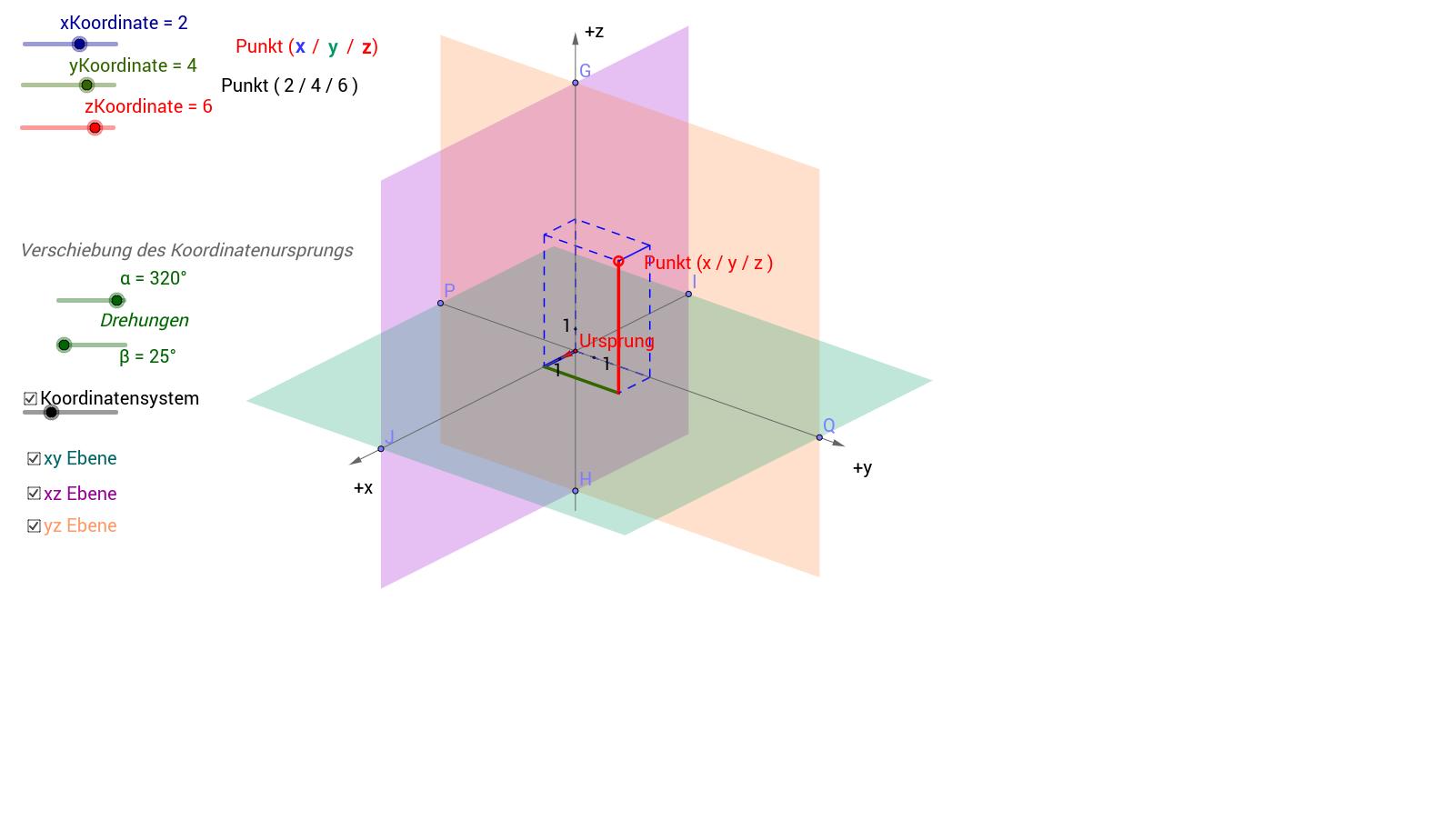 mathbu 902: Koordinaten P=(x/y/z) dreidimensional
