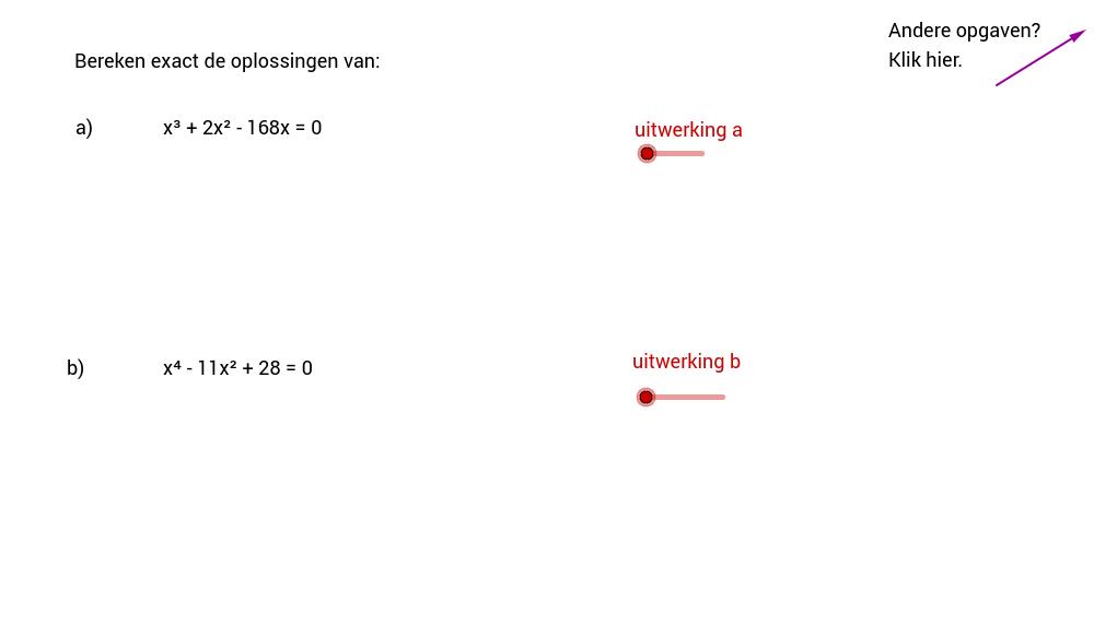 Oplossen 3-e of 4-e graads vergelijking