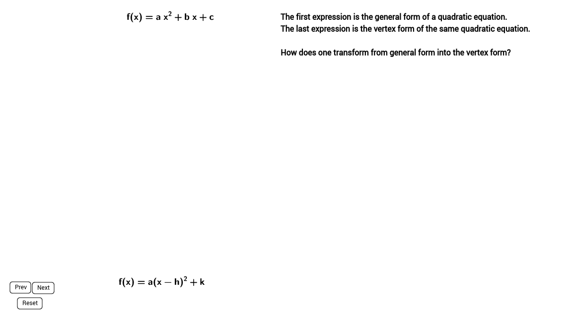 Completing the Square {Algebraic Proof}