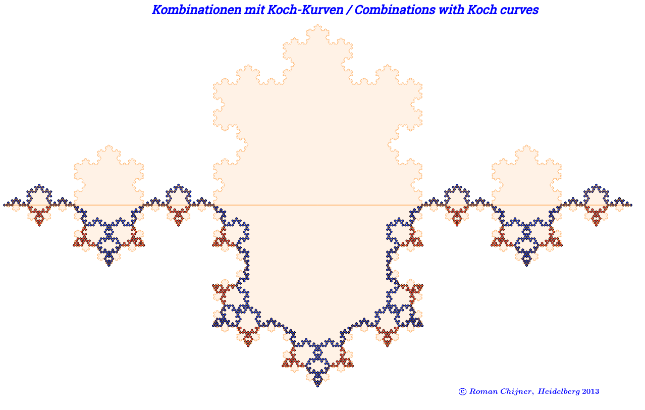 Kombinationen mit Koch-Kurven / Combinations with Koch curve