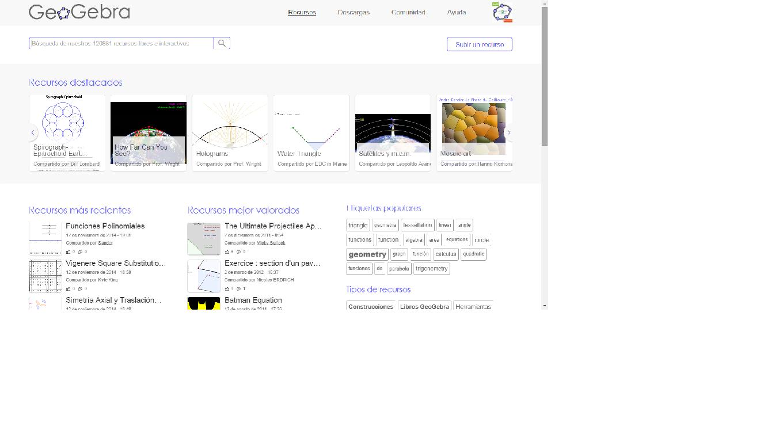 Navegación en GeoGebraTube