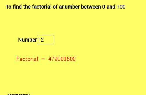 Worksheet on Factorial of a number