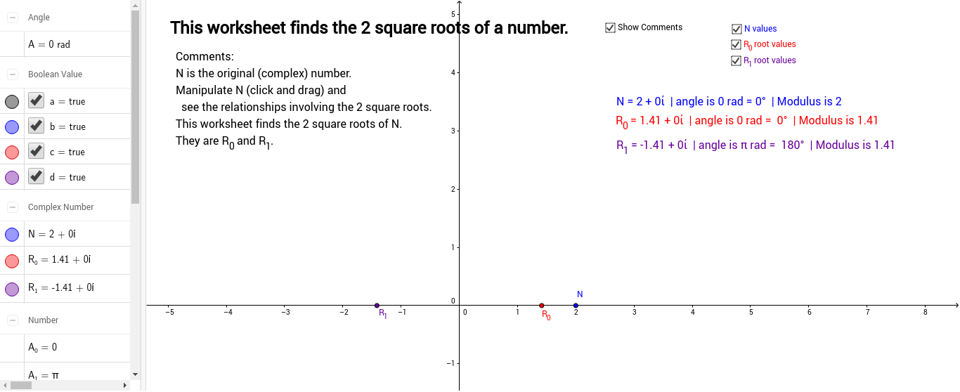 Square Roots of a Complex Number GeoGebra – Square Root Worksheet