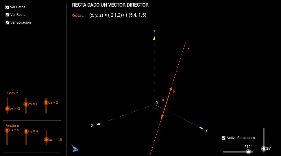 RECTA DADO UN VECTOR DIRECTOR DE LA MISMA