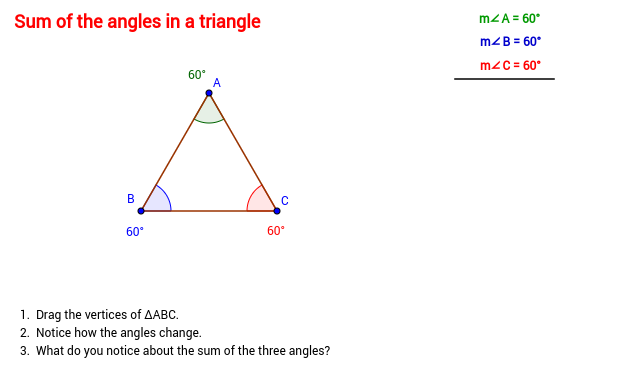Triangles geogebrabook for Sum of all exterior angles of a triangle