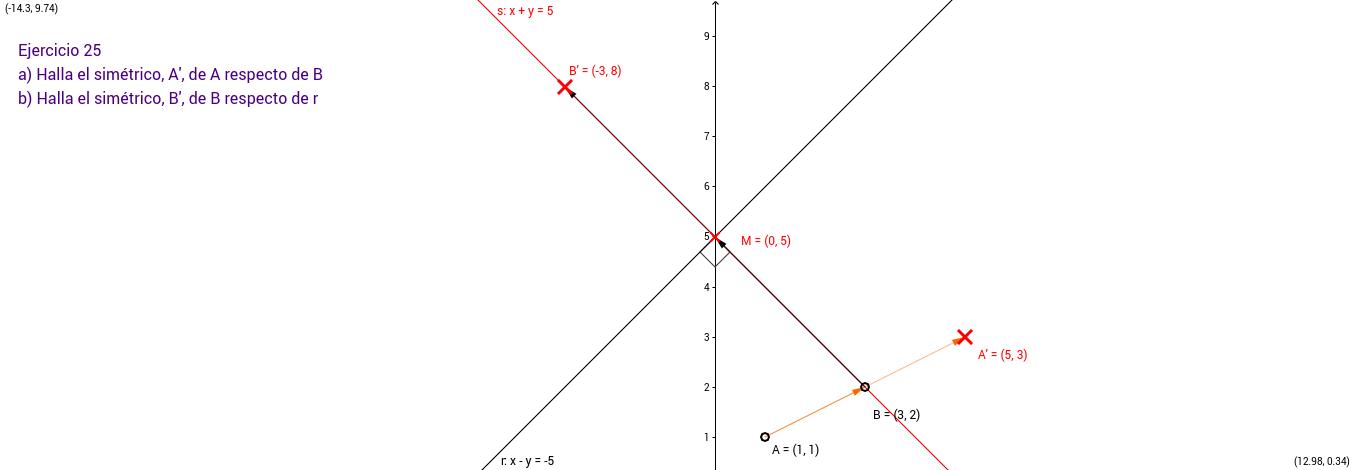 Ejercicio 25. Geometría en el plano