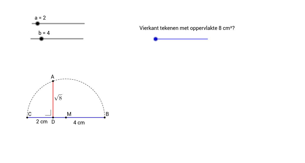 h) Een vierkant construeren met gegeven oppervlakte