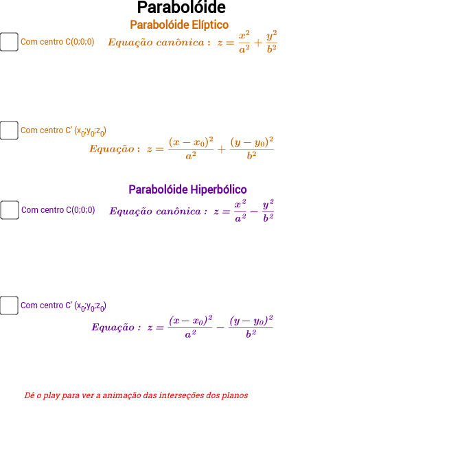Parabolóide - elíptico e hiperbólico