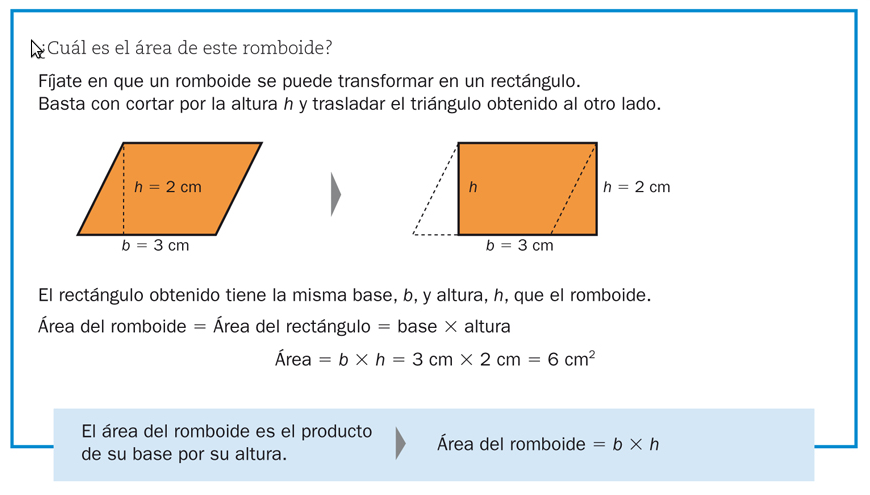 perímetro y área del romboide