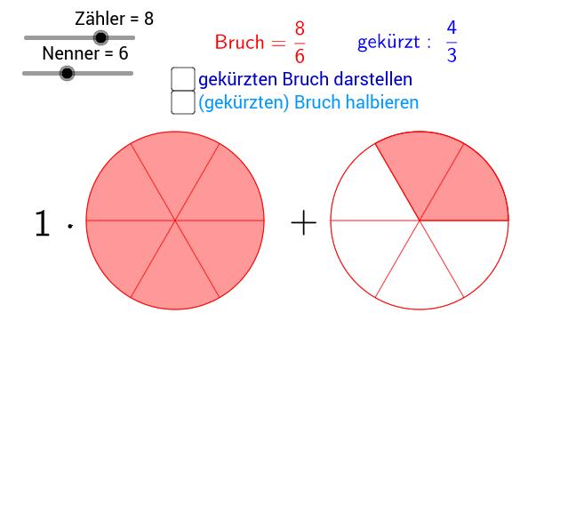 Bruchzahlen, rationale Zahlen darstellen, kürzen, halbieren