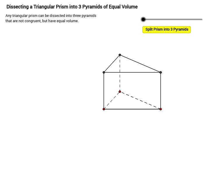 Dissecting a triangular prism into 3 equal-volume pyramids