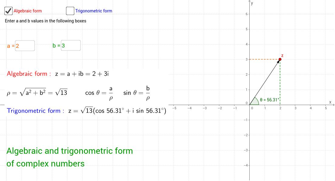 Complex numbers: algebraic and trigonometric form - GeoGebra