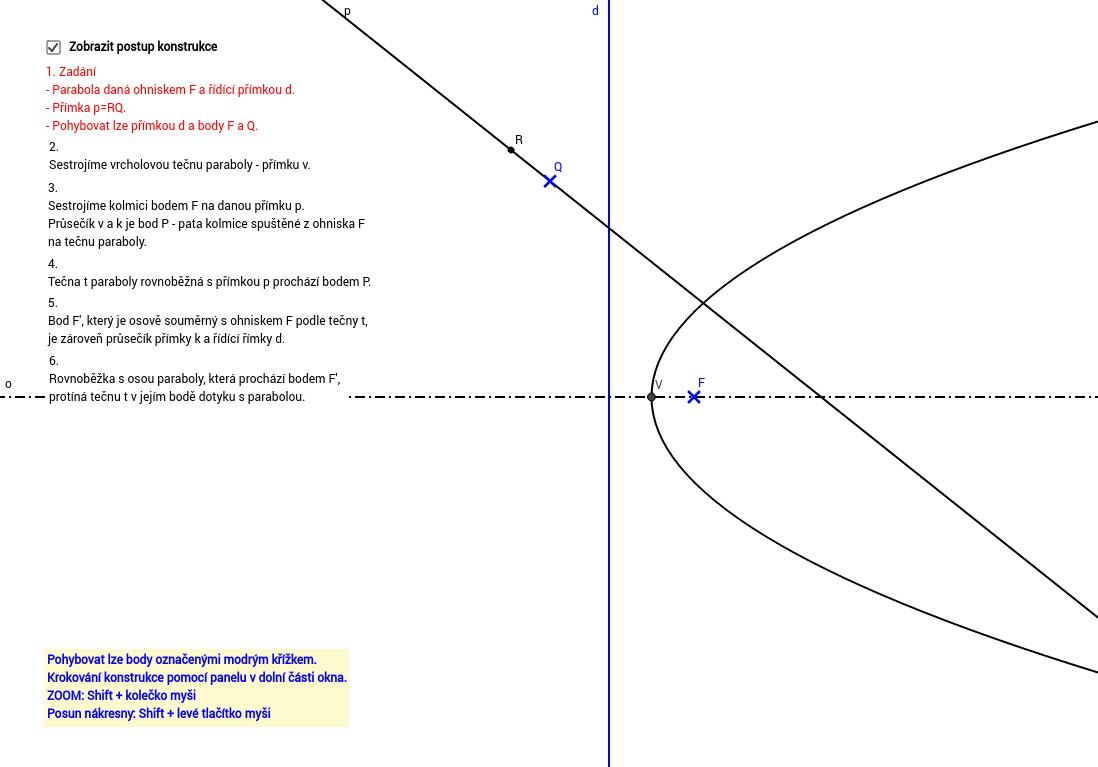 Tečna daného směru k parabole