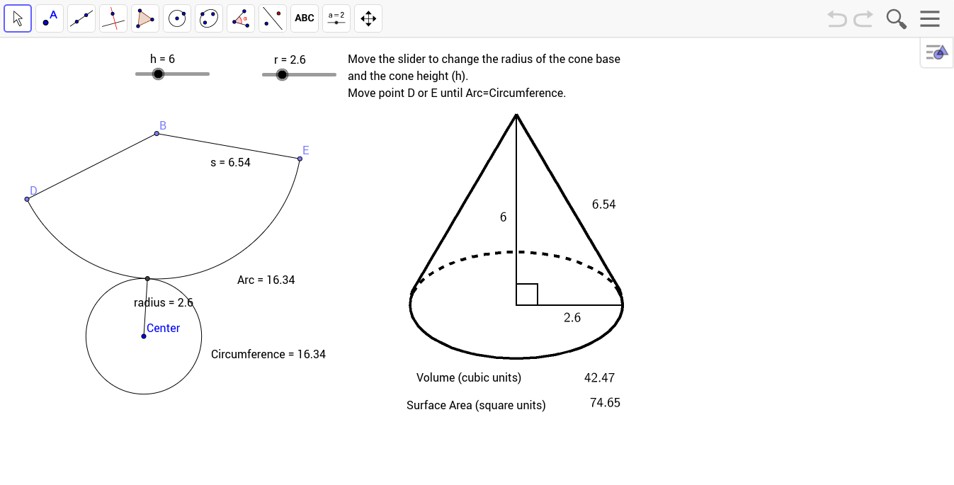 how to draw arc base on radius arc and change