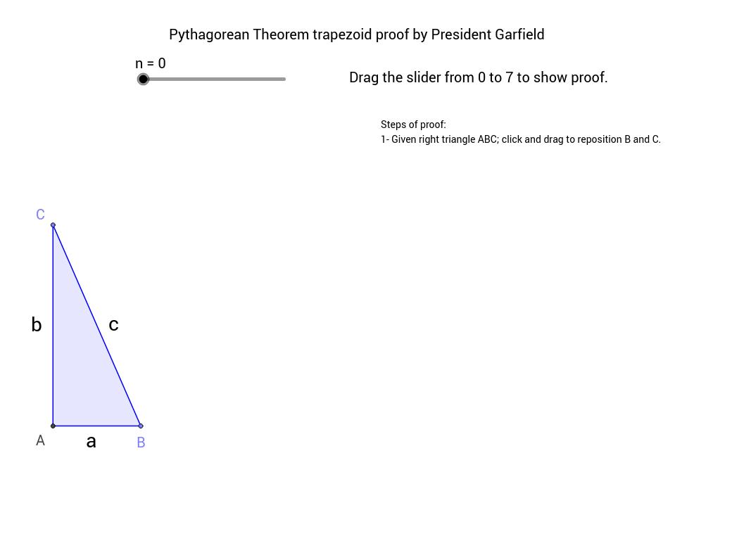 worksheet Worksheet Pythagorean Theorem pythagorean theorem trapezoid proof by president garfield geogebra view worksheet