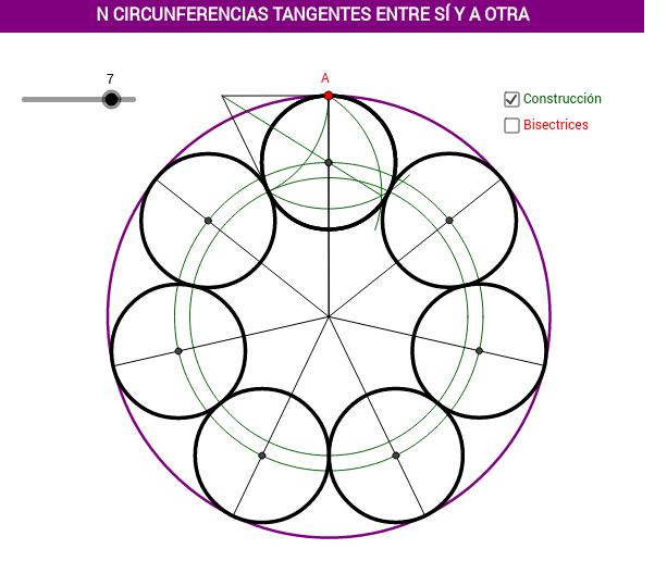 N circunferencias tangentes a otra y entre sí
