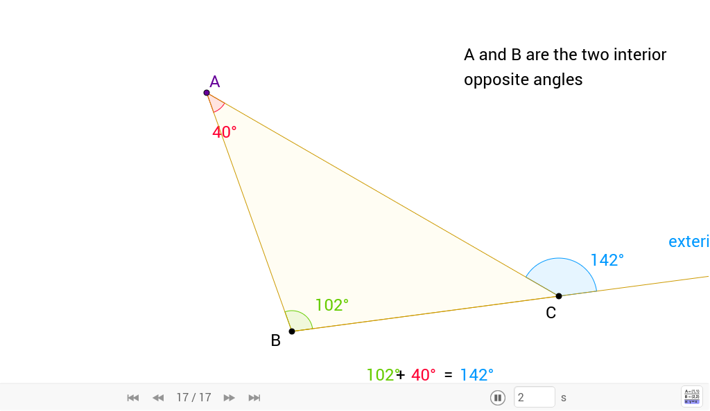 Exterior angle theorem of the triangle geogebra for Exterior angle theorem