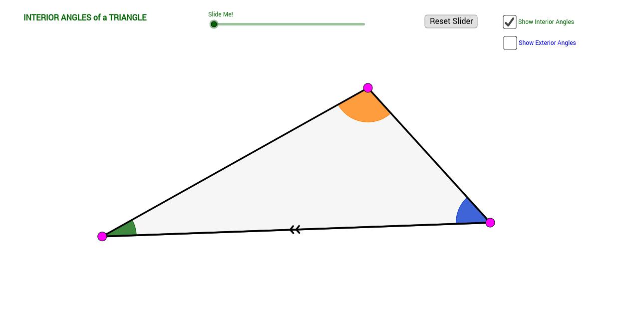 Triangle interior exterior angle sum theorems ii geogebra for Exterior angles of a triangle calculator