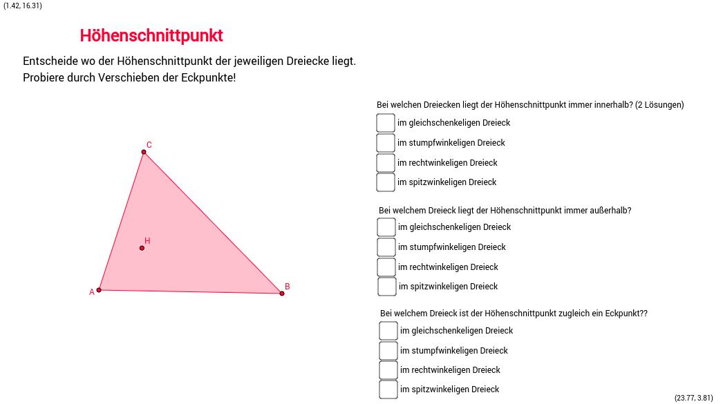 Höhenschnittpunkt in den verschiedenen Dreiecken