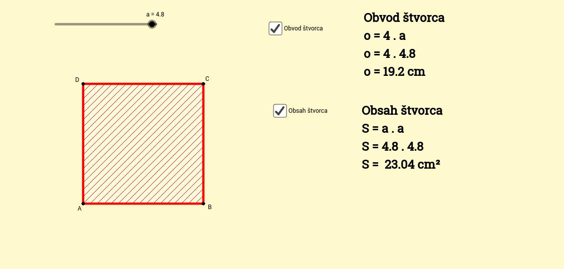 obvod a obsah štvorca
