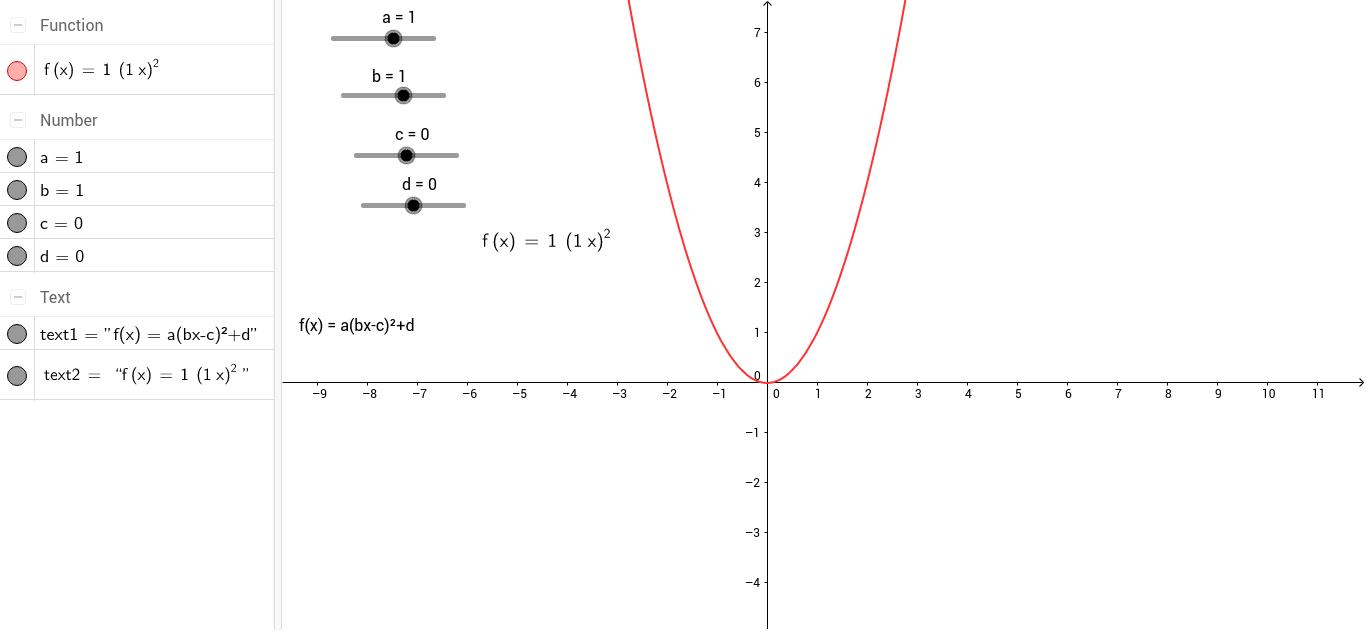 worksheet Transformations Of Quadratic Functions Worksheet transformations on quadratic function in standard form geogebra