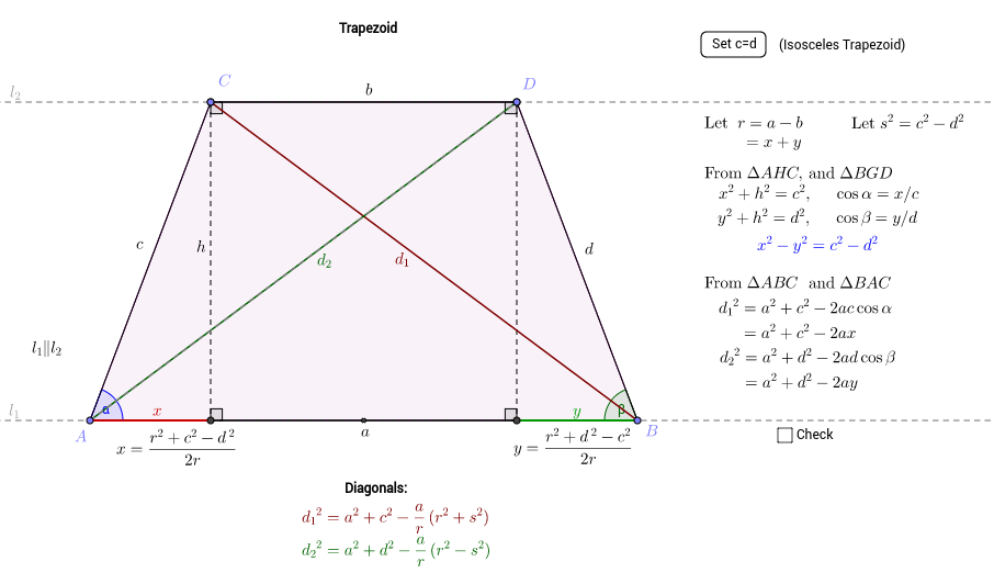 The Diagonals of  Trapezoid