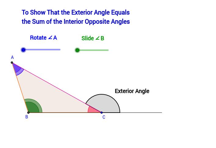 Triangle Exterior Angle Sum Theorem GeoGebra – Exterior Angle Worksheet