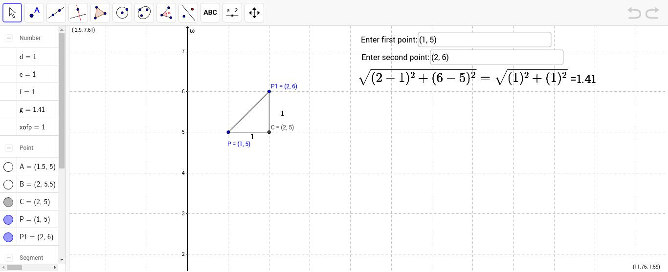 distance formula GeoGebra – Distance Formula Worksheet