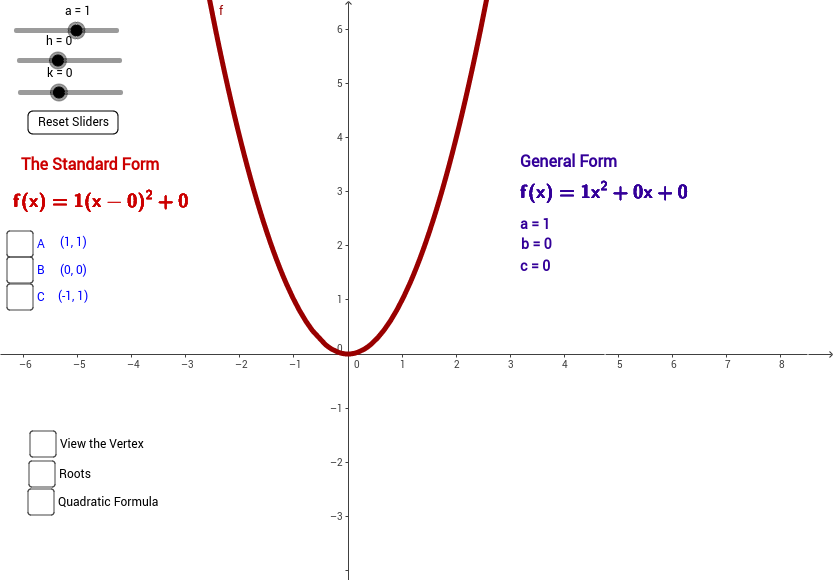 Quadratic Compare Vertex To Standard Forms Geogebra