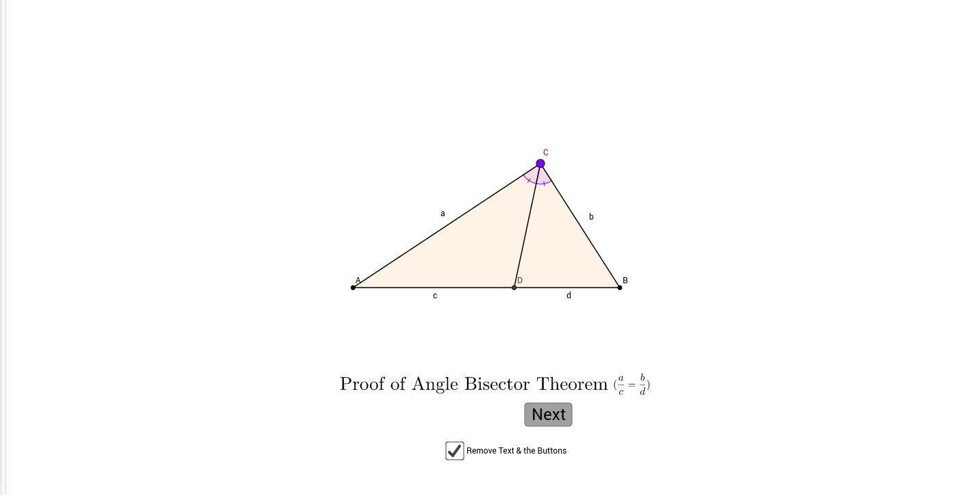 proof of angle bisector theorem geogebra. Black Bedroom Furniture Sets. Home Design Ideas