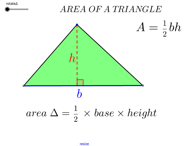 Area of a Triangle GeoGebra – Area of a Triangle Worksheet