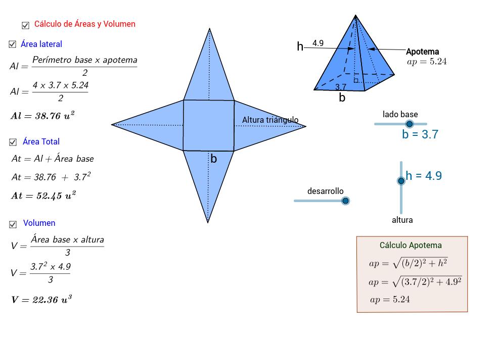 Desarrollo, Áreas y Volumen de la Pirámide