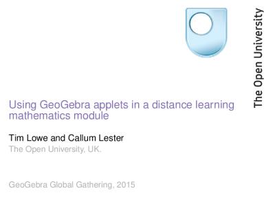 Using GeoGebra applets in a distance learning module