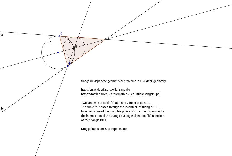 Sangaku problem: two tangents to a circle