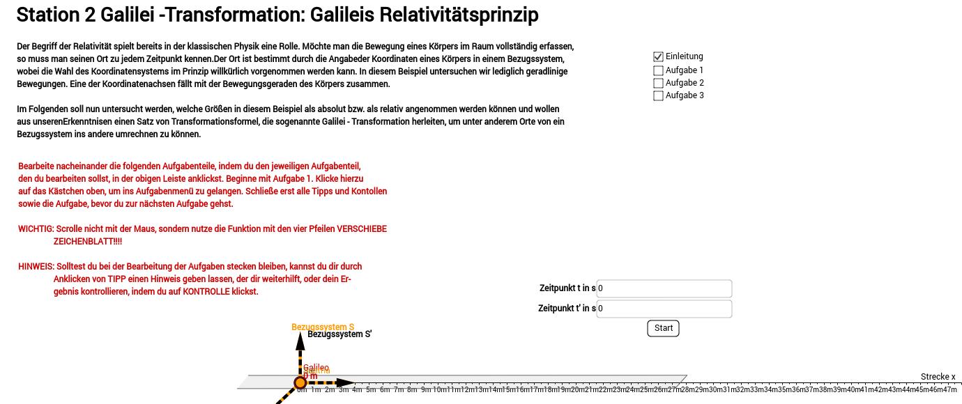 Galilei Transformation Dynmanisches Arbeitsblatt – GeoGebra
