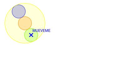 Tres círculos alineados dentro de otro