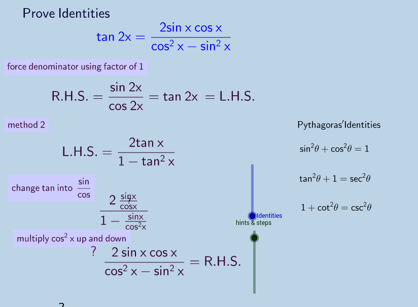 Trig Identities Exercise with hints and steps.