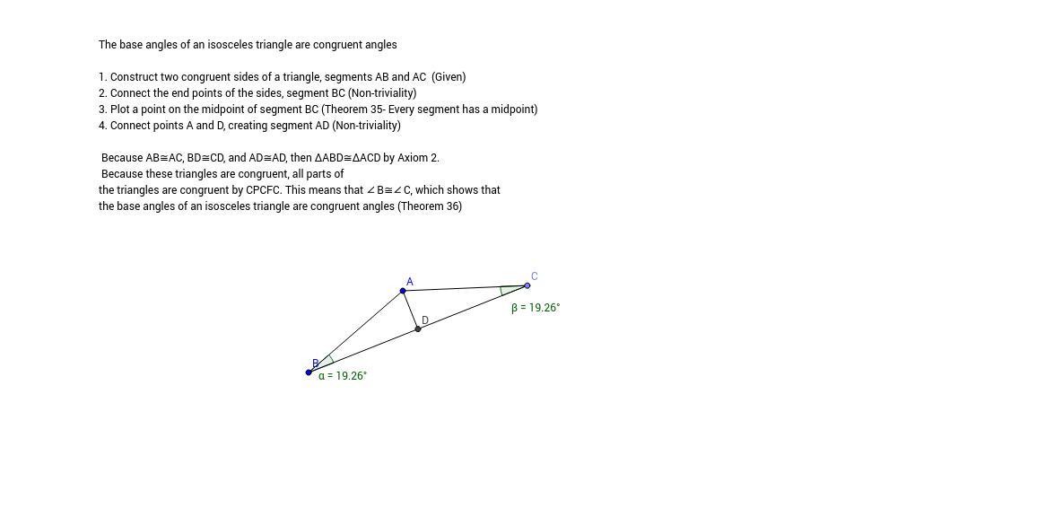 Theorem 36 GeoGebra – Isosceles Triangle Theorem Worksheet