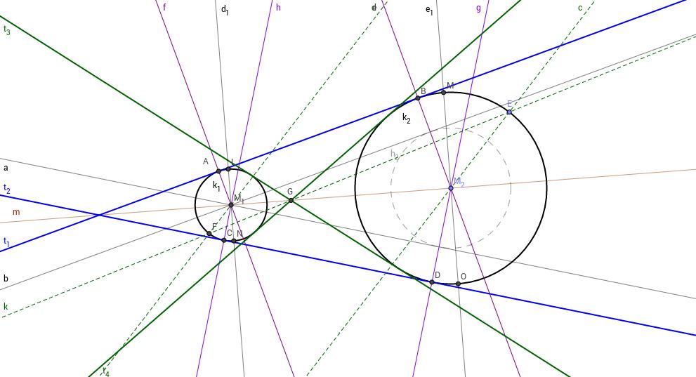 Gemeinsame Tangenten an zwei Kreise